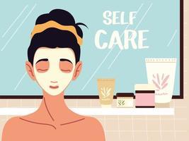 mulher com creme para a pele, produtos de auto-cuidado facial vetor
