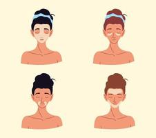 conjunto de mulheres aplicando cremes faciais produtos para a pele vetor