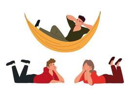 procrastinação, pessoas descansando e relaxadas no chão e na rede vetor