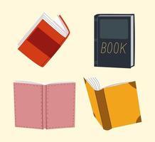 conjunto de livros, educação, literatura, leitura acadêmica vetor