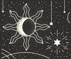 astrologia de estrelas da lua vetor