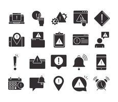 alerta atenção perigo ponto de exclamação precaução silhueta estilo conjunto de ícones de design vetor
