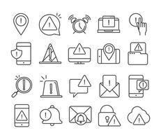 alerta atenção perigo ponto de exclamação precaução linha estilo conjunto de ícones de design vetor