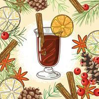 Vinho quente de Natal em fundo de sabor vetor