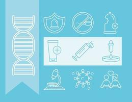 ícones de prevenção e proteção saúde sexual médica ginecologia linha azul vetor