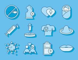saúde sexual médica ginecologia ícones de prevenção e proteção linha preencher azul vetor