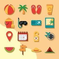 verão férias viagens turismo recreação conjunto ícones incluídos bola palma bola snorkel fruta e bilhete estilo simples vetor