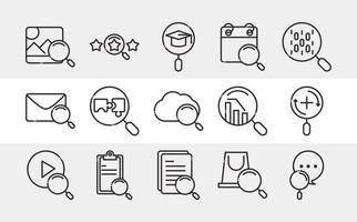 ícone de pesquisa conjunto de ícones linha fina pictograma email computação em nuvem calendário vetor