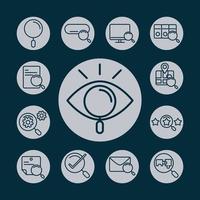 ícones de pesquisa smartphone tecnologia e-mail laptop marca de seleção bloco e estilo de linha vetor