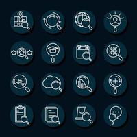 ícones de pesquisa tecnologia de navegador móvel explorar blocos e estilo de linha vetor