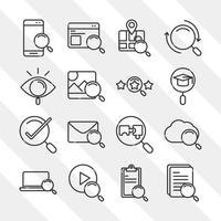 ícones de pesquisa smartphone tecnologia e-mail laptop marca de seleção estilo linha fina vetor