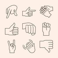 linguagem gestual gesto com a mão indicando ícones de linha do alfabeto de letras diferentes vetor