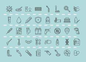 coronavirus covid 19 diagnóstico pesquisa equipamento médico teste amostra e resultados linha design coleção ícones vetor