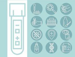 coronavírus covid 19 diagnóstico pesquisa equipamentos médicos teste amostra resultados e ícones de prevenção design de linha vetor