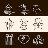 comunidade juntos apóiam a doação de caridade e conjunto de ícones da linha do amor vetor