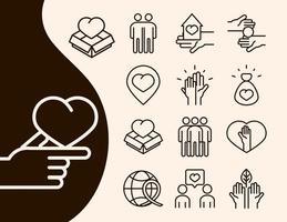 conjunto de ícones de doação de caridade e linha do amor comunidade juntos vetor
