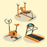 Conjunto de diferentes equipamentos de ginástica ou Fitness e aparelhos de treinamento vetor