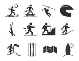 esporte radical estilo de vida ativo skatista corredor escalando ícones da silhueta do surf cenografia vetor