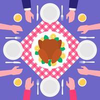 Thanksgiving Day Food Roasted Turkey Vista Superior Ilustração vetor