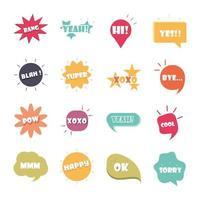 gíria borbulha palavras e frases diferentes em desenhos animados multicoloridos bang sim, desculpe, sim, conjunto de ícones planos vetor