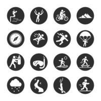 esporte radical estilo de vida ativo corrida esqui motocross bloco de mergulho e ícones planos vetor