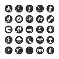 esporte radical ginástica estilo de vida ativo corredor swin mergulho esqui bloco de escalada e conjunto de ícones planos vetor