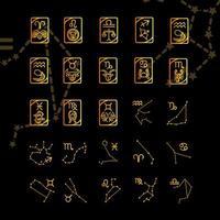 zodíaco astrologia horóscopo calendário constelação áries leo libra câncer escorpião ícones coleção gradiente estilo fundo preto vetor