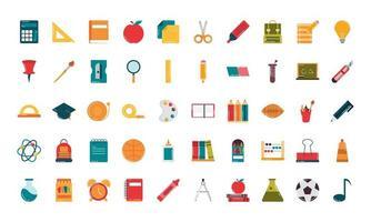conjunto de ícones de estilo simples de classe de suprimentos de educação escolar vetor