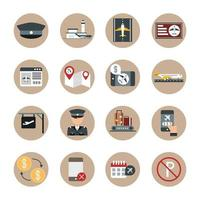 viagem aeroporto terminal de transporte turismo ou mapa de negócios avião caixa piloto pousando bloco móvel e conjunto de ícones de estilo simples vetor