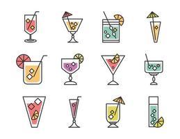 ícone de coquetel bebida licor álcool refrescante copos de vidro conjunto de ícones da barra de menu vetor