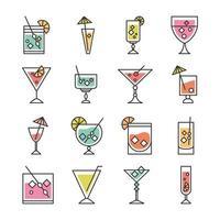 coquetel ícone bebida bebida refrescante álcool copo copos celebração evento festa ícones conjunto vetor