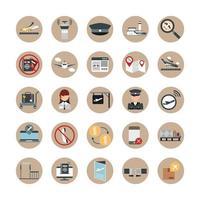 viagem aeroporto terminal de transporte turismo ou avião de negócios chapéu piloto uniforme passaporte bilhete bloco de mapa e conjunto de ícones de estilo simples vetor