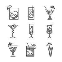 ícone de coquetel bebida licor álcool refrescante copos de vidro limão guarda-chuva ícones de gelo vetor
