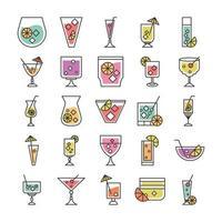 coquetel ícone beber licor álcool copo fresco copos festa ícones conjunto vetor
