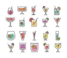 coquetel ícone beber licor refrescante álcool copos de vidro coleção de ícones vetor