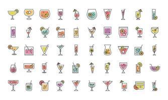 coquetel ícone licor bebidas alcoólicas bebidas copos de vidro conjunto de ícones vetor