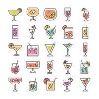 ícone de coquetel bebida licor álcool refrescante copo copos frutas baga cubos de gelo conjunto de ícones de guarda-chuvas vetor