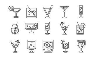 ícone de coquetel bebida licor álcool refrescante copo copos conjunto de ícones de celebração de festa vetor
