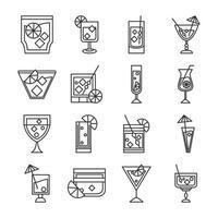 coquetel ícone bebida licor álcool copos de vidro conjunto de ícones de bebidas deliciosas vetor