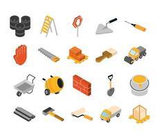 isométrica reparação ferramenta de trabalho de construção e equipamentos barris escada serra escova pá balde martelo chave de fenda conjunto de ícones de estilo simples vetor