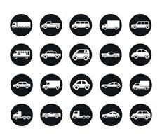 modelo do carro sedan suv pickup caminhão transporte veículo silhueta ícones estilo cenografia vetor