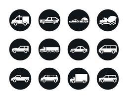 carro modelo caminhão container pickup container transporte veículo silhueta estilo ícones cenografia vetor