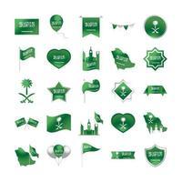 Reino da Arábia Saudita celebração do dia nacional liberdade ícones nacionais definir estilo gradiente vetor