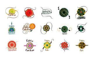 Conjunto de pulseira indiana tradicional raksha bandhan do amor entre irmãos e irmãs vetor
