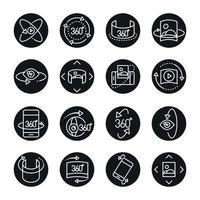 Visão de 360 graus da imagem do tour virtual panorama estilo linear ícones cenografia vetor