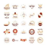 feliz navratri celebração indiana deusa cultura durga ícones tradicionais definidos estilo simples vetor