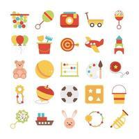 objeto de brinquedo para crianças pequenas brincarem conjunto de ícones de desenho animado estilo simples vetor