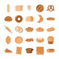 menu de pão padaria produto alimentar conjunto de ícones de estilo simples vetor