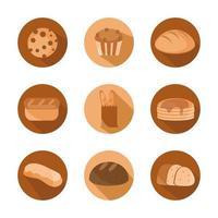 menu de pão padaria conjunto de produtos alimentícios e ícones planos vetor