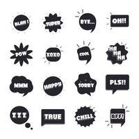 gíria bolhas palavras e frases diferentes bang sim, desculpe, sim, ícones planos definidos vetor